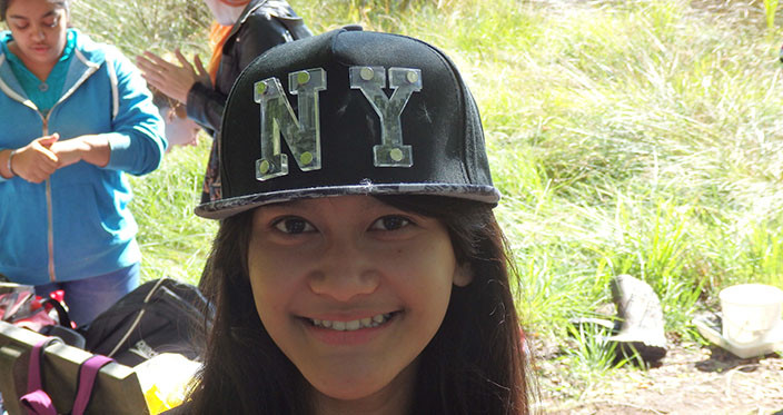 Angitta wears a cap, so that we can find her in case she disappears into the bog